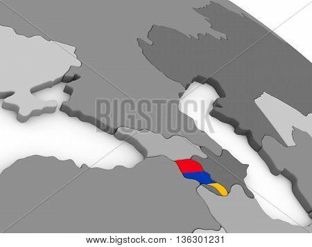 Armenia On Globe With Flag