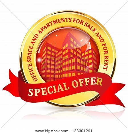 Office space and apartments for sale and for rent. Special Offer - ribbon / label for real estate agencies.