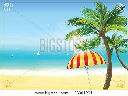 Summer seaside background. Beach with parasol and palm trees. Print colors used. Copy-space for your own text.