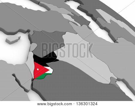Jordan On Globe With Flag