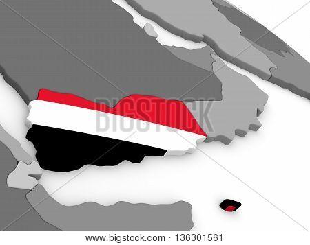 Yemen On Globe With Flag
