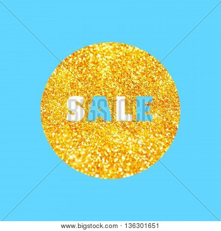 Sale tag template on a golden glitter on a blue background