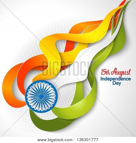 Indian Independence Day concept background with Ashoka wheel. Vector Illustration