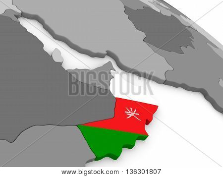 Oman On Globe With Flag
