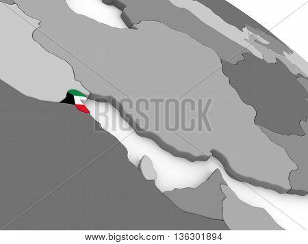 Kuwait On Globe With Flag