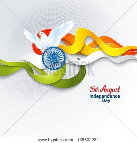 Indian Independence Day concept background with Ashoka wheel and dove. Vector Illustration