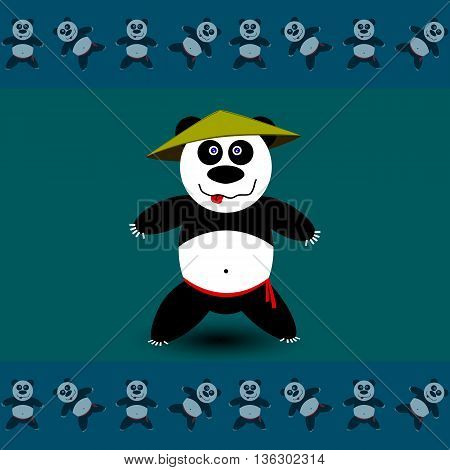 Amusing sport Panda. Vector illustration school of east martial arts