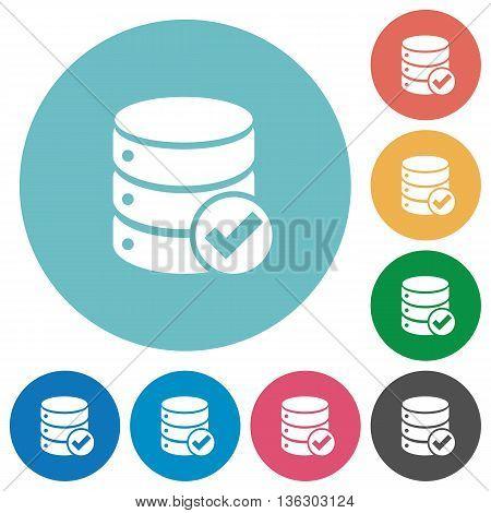 Flat Database ok icon set on round color background.