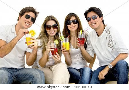 Summer people drinking fruit cocktails isolated over white