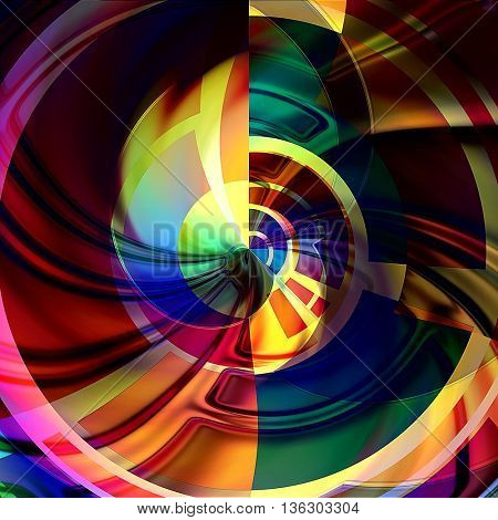 art abstract graphic spherical grunge colored background in rainbow and gold colors; geometric pattern