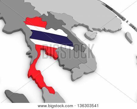 Thailand On Globe With Flag