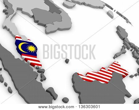 Malaysia On Globe With Flag