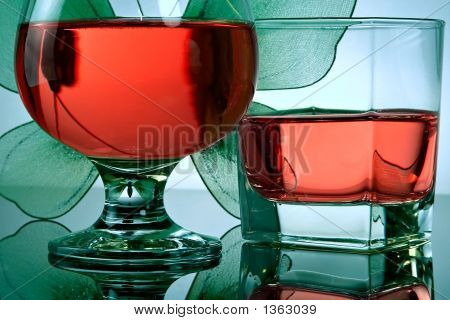 Composition From Glasses And Butterflies