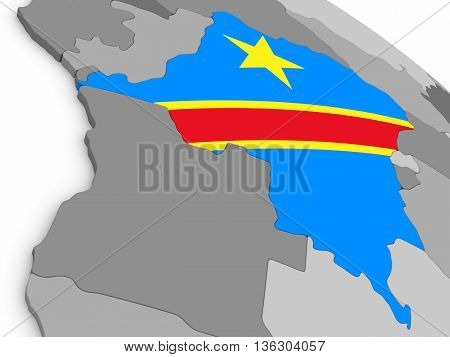 Democratic Republic Of Congo On Globe With Flag