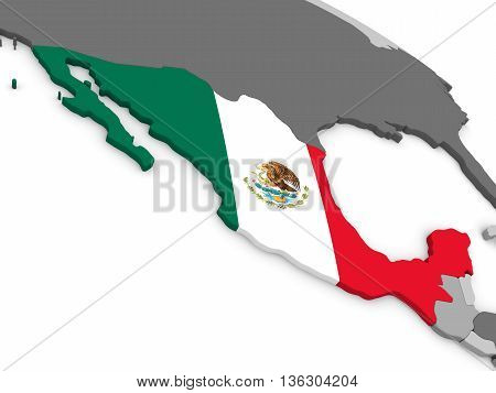Mexico On Globe With Flag