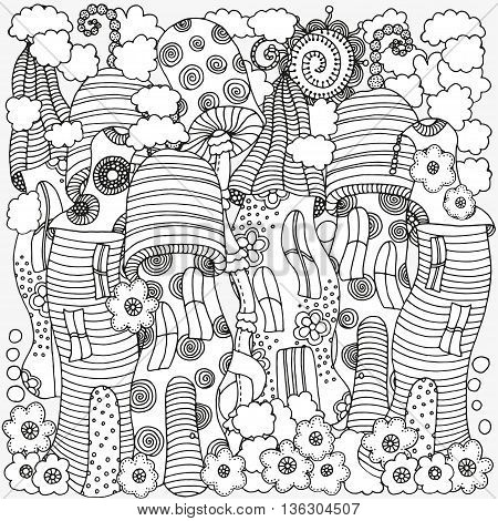 Coloring book page for adult and children. Fantasy fairy houses in the magic forest. Pattern for coloring book. Mushrooms, flowers, sun. Black and white pattern. Sketch. Zentangle. Vector illustration