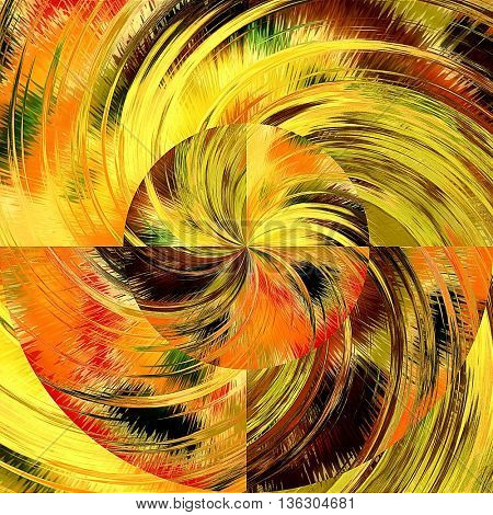 art abstract graphic spherical grunge colored background in red, orange, green, yellow and gold colors; geometric pattern