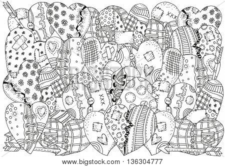 Pattern for coloring book with hand drawn hearts in vector. A4 size. Valentines day background. Doodle, zentangle, henna, tribal design elements. Black and white. Made by trace from sketch.