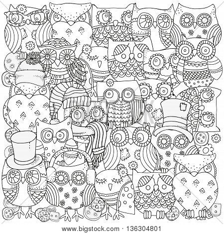 Pattern for coloring book. Owls. Black and white background. Artistically drawn, zentangle, stylized, feathers