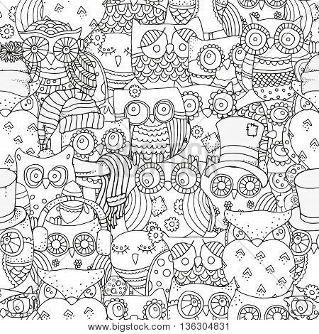 Seamless pattern for coloring book. Owls. Black and white background. Artistically drawn, zentangle, stylized, feathers