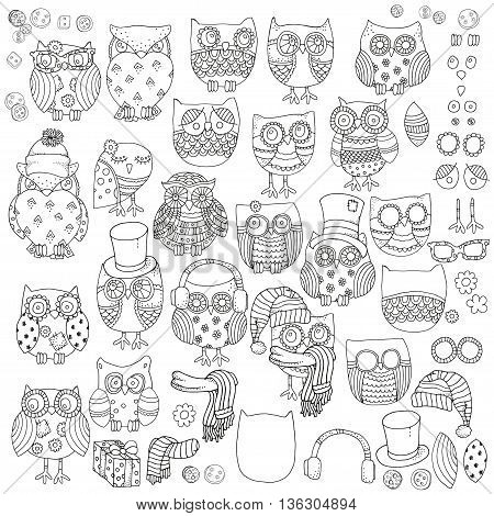 Vector set of different owls. Hand-drawn decorative design elements in vector. Pattern for coloring book. Black and white background. Artistically drawn, zentangle, stylized, feathers