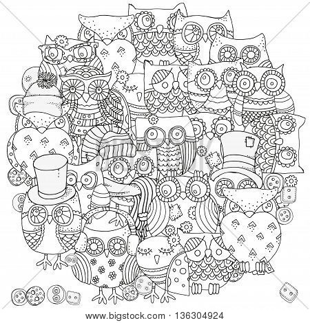 Circle shape pattern for coloring book. Owls. Black and white background. Artistically drawn, zentangle patterns, mandala, stylized, feathers. Black and white.