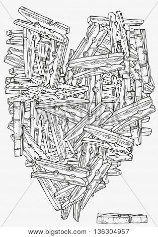 Heart shape pattern with wooden clothespins for coloring book. Clothespins, hand-drawn decorative elements in vector. Black and white pattern. Made by trace from sketch. Zentangle