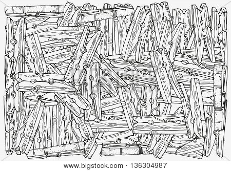 Coloring book page for adult and children. A4 size. Wooden clothespins , hand-drawn decorative elements in vector. Pattern for coloring book. Black and white pattern. Zentangle