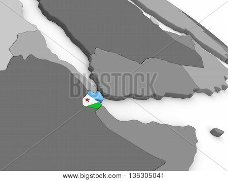 Djibouti On Globe With Flag