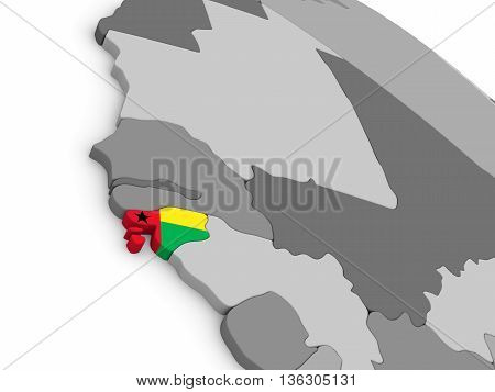 Guinea-bissau On Globe With Flag