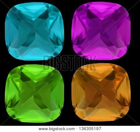 illustration with gems isolated on black background
