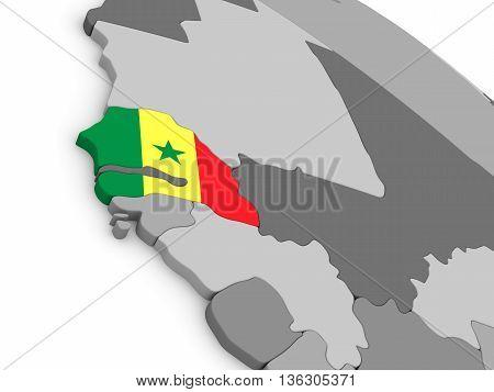 Senegal On Globe With Flag