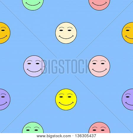 Smile happiness sign on blue background. Fashion graphic background design Modern stylish abstract colorful texture. Template for prints textiles wrapping wallpaper website etc VECTOR illustration