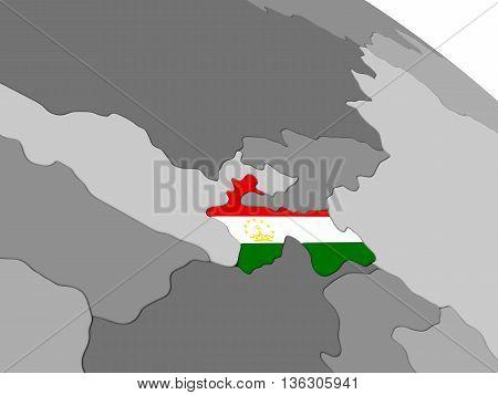 Tajikistan On Globe With Flag