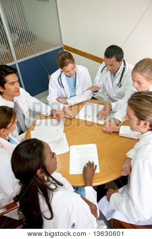 Group of doctors in a meeting at a hospital