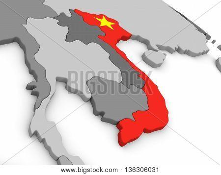 Vietnam On Globe With Flag
