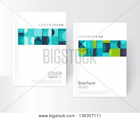 Minimalistic white cover template. Flat style creative concept cover for catalog, report, brochure. Turquoise, violet, blue & green abstract geometric shapes. Squares, triangles and circles