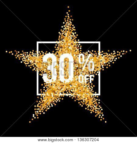Golden Star and Frame with Discount Thirty Percent on Black Background