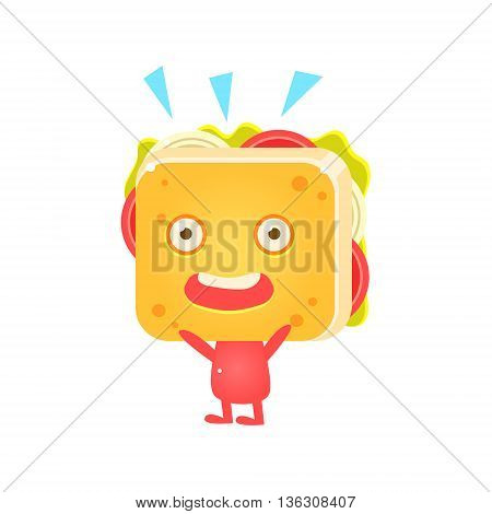 Sandwich Character Cheering Flat Childish Funny Design Vector Drawings Isolated On Dark Background