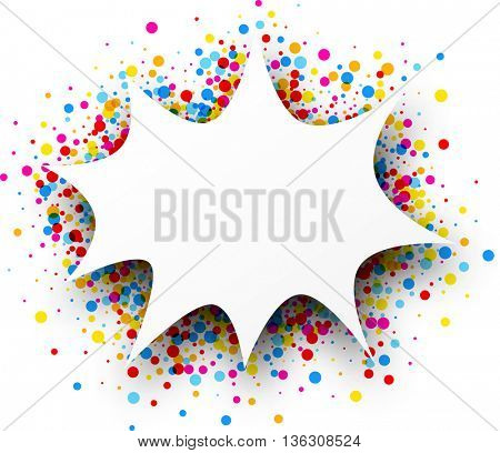 Paper figured white background with color drops. Vector illustration.