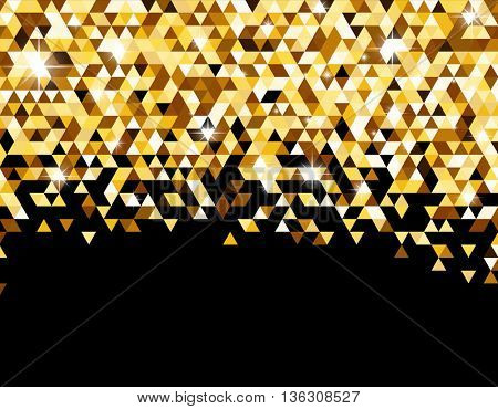 Black abstract background with yellow triangles. Vector illustration.