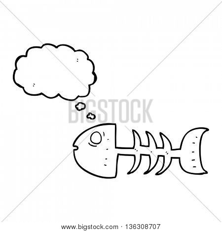 freehand drawn thought bubble cartoon fish bones