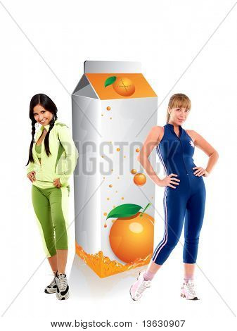 Fit women with a carton of orange juice isolated