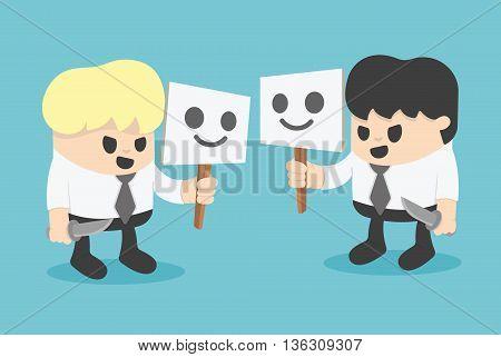 Businessman Hiding Behind Mask. concept cartoon illustration.