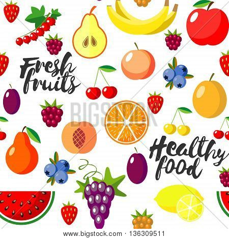 Fresh fruits flat style seamless background. Healthy food patern. Vector