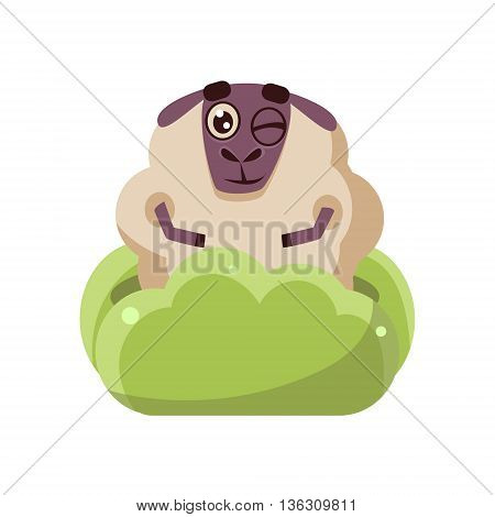 Sheep Hiding In The Bush Cute Childish Style Bright Color Design Icon Isolated On White Background