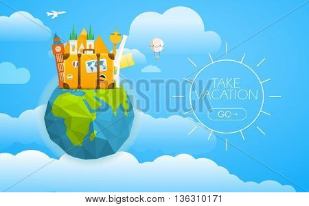 Vacation travelling concept. Vector travel illustration with different famous sights. Take vacation concept with the logo and the Earth