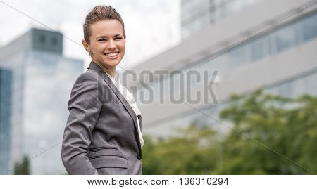 Portrait Of Modern Business Woman At The Office District