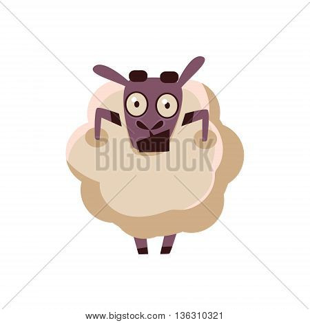 Sheep Being Shocked Cute Childish Style Bright Color Design Icon Isolated On White Background