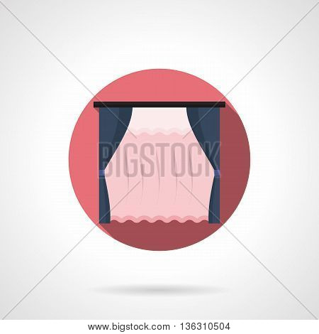 Dark blue blinds and pink transparent tulle curtains. Textile elements for home decor, window decoration. Classic vintage style. Round flat color style vector icon.